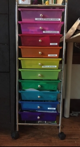 Rainbow storage cart drawers organization holding kids art supplies