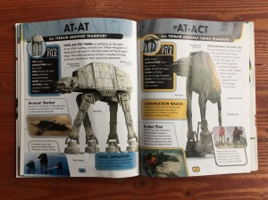 Star Wars Encyclopedia of Starfighters and Other Vehicles page spread with AT-AT and AT-ACT vehicles data files details