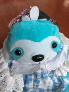 Creativity for Kids Weighted Sequined Pet Sloth blue wearing blue gingham doll dress