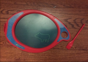 Pig drawn by five year old on Boogie Board Play and Trace board using template from farm friend accessory activity pack