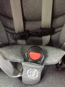 The buckle release on the Evenflo Evolve 3-in-1 combination booster seat