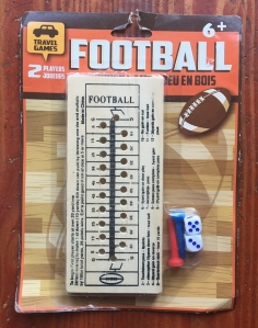 Football wooden peg travel game with board rules printed on wooden board pegs and mini dice in package