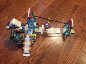 Lego Friends Snow Resort Ski Lift with chair lift and ski slope that move