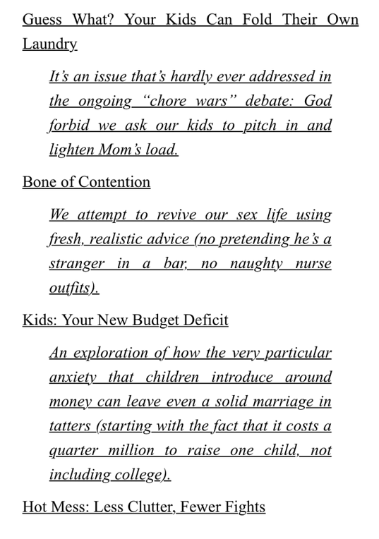 Excerpt from table of contents chapter headings from How Not to Hate Your Husband After Kids book by Jancee Dunn