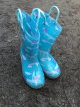 Norty light up rubber rain boots for kids in blue with unicorn and rainbow print