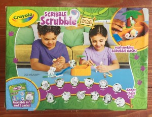 Crayola Scribble Scrubbie Safari tub shower play set back of box with all safari animals shown