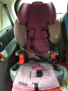Britax Grow with Me harness to highback booster combination car seat installed in back row of Mazda5