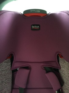 Harness and headrest adjustment on Britax Grow with Me booster seat