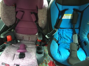 Britax Grow with Me in mulberry installed beside Britax Marathon in third row of Mazda5