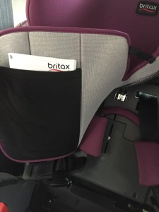 Britax Grow with Me instruction manual in pouch pocket underneath seat cover