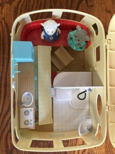 Calico Critters Caravan Family Camper as seen from above when kitchen closed and roof open