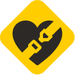 Car Seats for the Littles Logo seatbelt clicking over black heart on yellow background