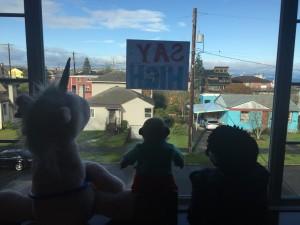 Crazy critter challenge stuffed animals in house window scavenger hunt unicorn meerkat and hedgehog
