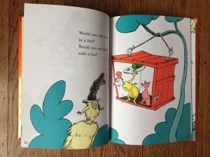 Sam I am in a box with a fox and green eggs and ham Dr Seuss book for kids