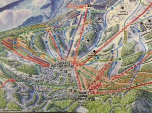 Whitefish Montana Ski resort map with ski runs and lifts