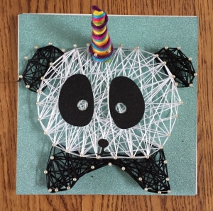 Craft-tastic String Art Kit for kids pandacorn edition completed by seven year old girl