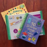 Usborne 50 Science Things to Make and Do, Cabbage Chemistry Acids and Bases set, Fix It and Forget It Kids Cookbook in a stack