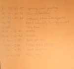 handwritten school schedule for at home use