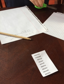 List of spelling words printed and cut out