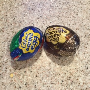 Cadbury creme and chocolate creme eggs on counter