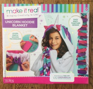 Make It Real Unicorn Hoodie Blanket art kit box