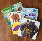 The Very Cranky Bear, Berenstain Bears All Aboard!, Brown Bear, Brown Bear, What Do You See? and The Berestain Bears Don't Pollute in a fanned out stack on wooden floor