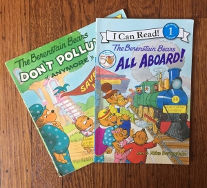 The Berenstain Bears All Aboard! easy reader and The Berenstain Bear Don't Pollute