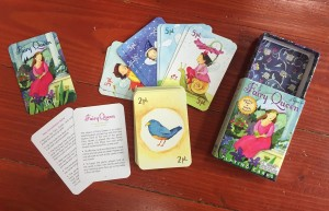 Fairy Queen card game for kids box with sliding tray, nature inspired cards, fairy cards and instructions