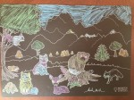 Imagination Starters reusable washable chalkboard place mats forest scene colored in by seven year old child