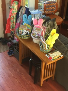Easter baskets with stuffed Peeps on table