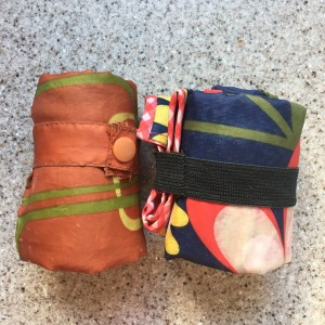 Envirosax resuable bags sling bag and regular style rolled up side by side