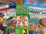 Melissa and Doug Water Wow Deluxe Around town activity book Imagine Ink Paw Patrol activity book and Brain Quest Deck ages 8-9 Grade 3 in box