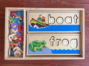 Melissa & Doug See and Spell wooden spelling word puzzles in wooden crate box