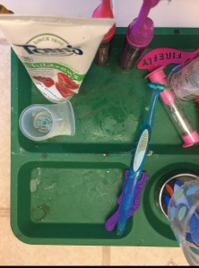 Tom's of Maine kids' strawberry toothpaste with flosser and timer and toothbrushes on toddler divided plate