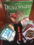 Dragonwood kids card dice game in box with cards and dice from Gamewright