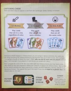 Dragonwood directions for play explaining strike stomp scream