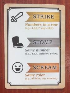 Strike Stomp Scream explanation cards turn summary