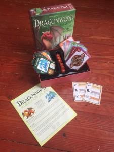 Dragonwood kids card game in box on floor