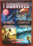 I Survived books by Lauren Tarshis four books in one volume cover Sinking of the Titanic, Destruction of Pompeii, Battle of Gettysburg, Japanese Tsunami