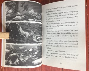 Page spread inside peek of I Survived The Sinking of the Titanic by Lauren Tarshis book for kids young readers