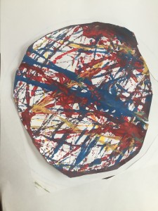 Painting done by five year old using marbles