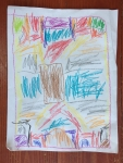 Kid crayon art drawing on paper
