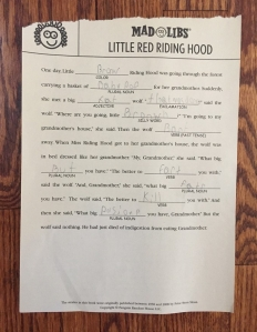 Mad Libs Little Red Riding Hood completed by two nine year old boys fill in the blank story page