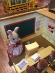 Calico Critters Sylvanians Country Tree School with rabbit bunny teacher and three students at desks
