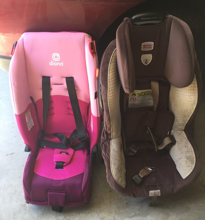 Diono Radian car seat next to Britax Boulevard convertible car seat