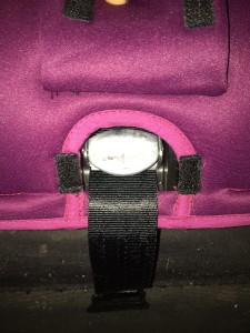 Harness release button on Diono Radian 3RX convertible car seat