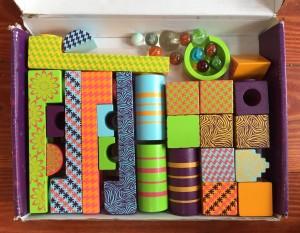 Mini marble mayhem blocks ramps marbles stored inside box by Imagination Generation