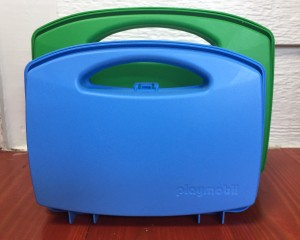 Playmobil carry cases toy suitcases to go blue soccer and green horse sets