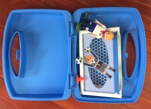 Playmobil soccer carry case suitcase toys to go blue with figures and accessories