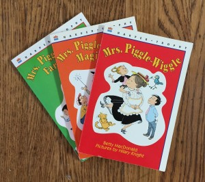 Mrs Piggle-Wiggle books by Betty MacDonald Mrs. Piggle-Wiggle's Magic and Farm red orange and green covers